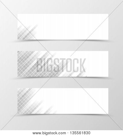 Set of banner grid design. Gray banner for header with with square surface. Design of banner in geometric style. Vector illustration
