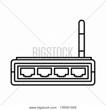 Router icon in outline style isolated on white background