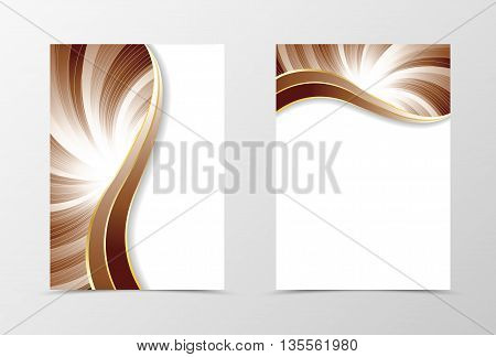 Flyer template vortex design. Abstract flyer template in coffee with milk colors with silver lines. Bright wavy spectrum flyer design. Vector illustration