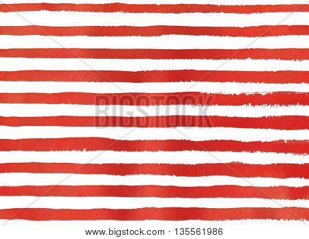 Watercolor Red Stripe Grunge Pattern.