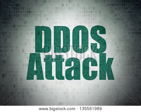 Protection concept: Painted green word DDOS Attack on Digital Data Paper background