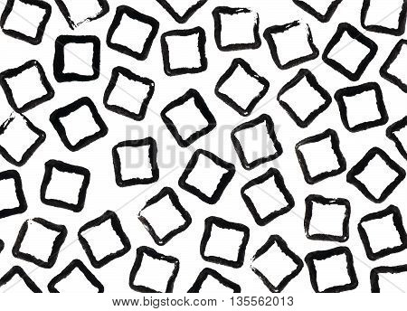 Grunge Square Black Strokes Pattern.