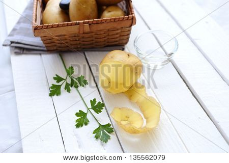 potato peel with ingredients for mashed potatoes