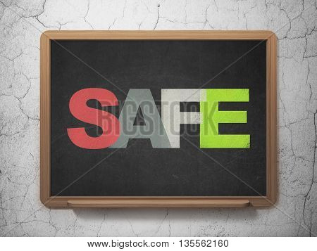 Protection concept: Painted multicolor text Safe on School board background, 3D Rendering