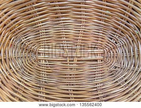 Texture circular cover from wicker basket. Background, close up