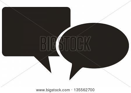 Flat Round Web site Icon discussion talking bubble symbol