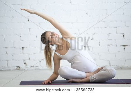 Pregnant Young Woman Doing Prenatal Yoga. Variation Of Easy Posture