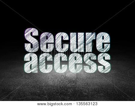 Safety concept: Glowing text Secure Access in grunge dark room with Dirty Floor, black background