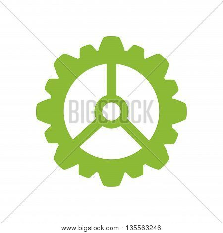 Machine part concept represented by gear icon over flat and isolated background