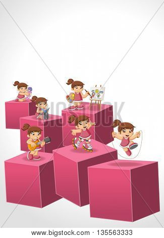 3d cubes with happy cartoon boy playing. Sports and toys. Infographic design.
