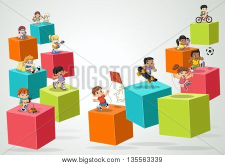 3d cubes with cartoon children playing. Sports and toys. . Infographic design.
