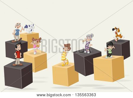 3d cubes with cute happy cartoon family with pets. Infographic design.