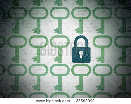 Privacy concept: rows of Painted green key icons around blue closed padlock icon on Digital Data Paper background