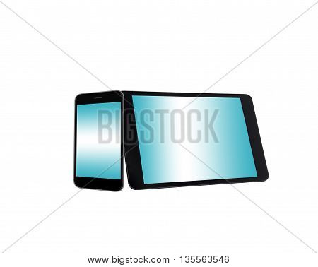 tablet and mobile phone isolated on white background