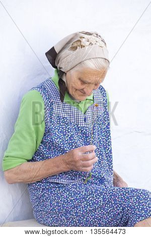 very old woman sniffs a flower and thinking about his youth