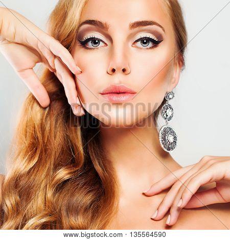 Blond Woman. Beautiful Face. Blond Hair. Fashion Portrait