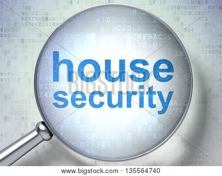 Protection concept: magnifying optical glass with words House Security on digital background, 3D rendering