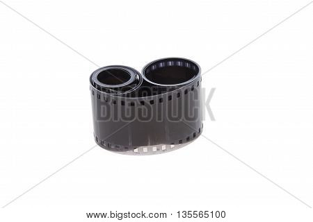 Old black-and-white photographic film isolated on white background