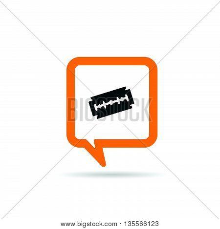 Square Orange Speech Bubble With Razor Blade Illustration