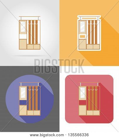 furniture hall set flat icons vector illustration isolated on white background