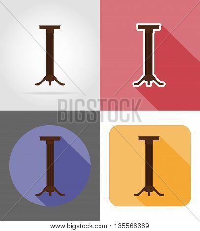 stand for flowerpots furniture set flat icons vector illustration isolated on white background