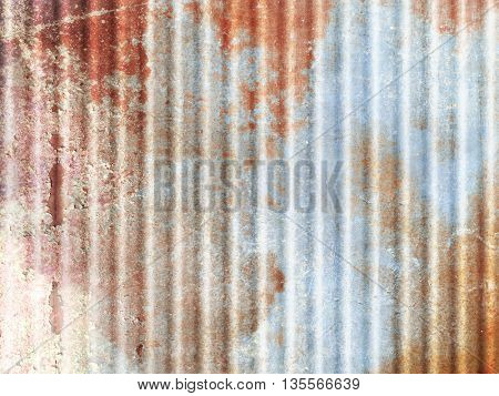 Rusty background with corrugated metal texture - abstract industrial pattern