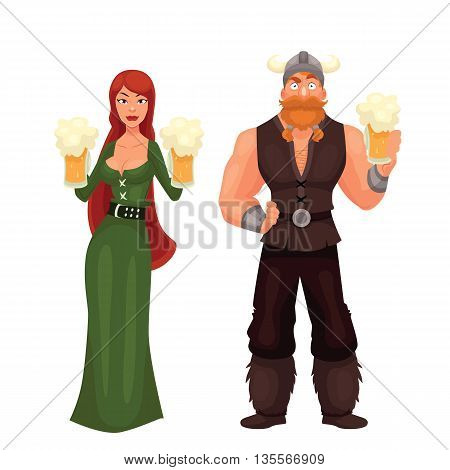 Scandinavian man and woman Required to have a beer, cartoon comic illustration isolated on white background, red-haired girl in a green dress viking beer, red bearded Scandinavian drinking beer