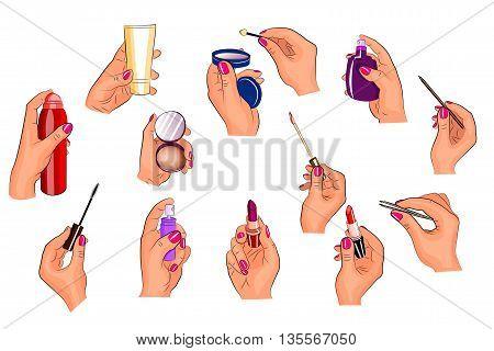 illustration of hands holding different cosmetics. lipstick shadowscream powder.