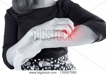 Woman scratch the itch with hand isolate on white background