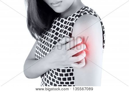Women scratch the itch with hand arm itching Concept with Healthcare And Medicine.
