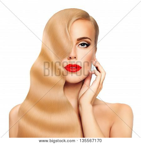Blond Hair Woman. Nice Face. Healthy Long Hair and Perfect Skin. Hair Care Concept. Beauty Fashion Portrait. Hollywood Wave Hairstyle
