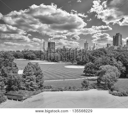 Black And White Photo Of Central Park.