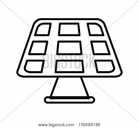 Save energy concept represented by solar panel icon over flat and isolated background