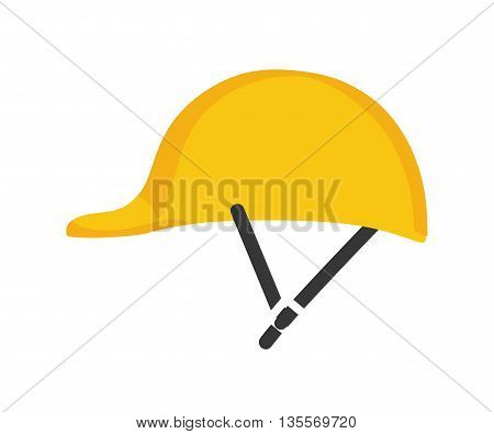 Industrial security concept represented by helmet icon over flat and isolated background
