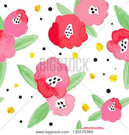 Seamless background with red and pink abstract flowers and golden elements. Bright stylish backdrop for your design.