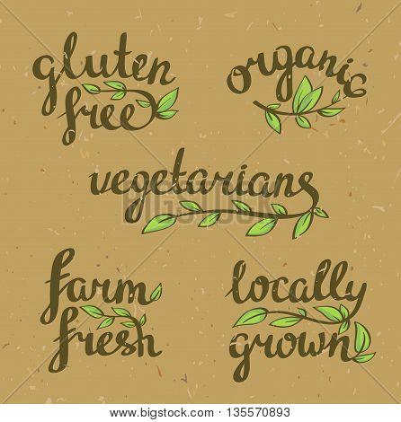 lettering - organic natural food vegan and vegetarians menu.Craft paper background.