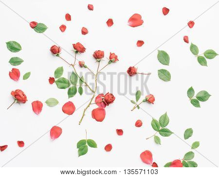 Red Roses And Green Leaves