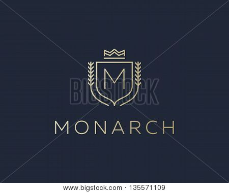 Premium monogram letter M initials ornate signature logotype. Elegant crest logo icon vector design. Luxury shield crown sign