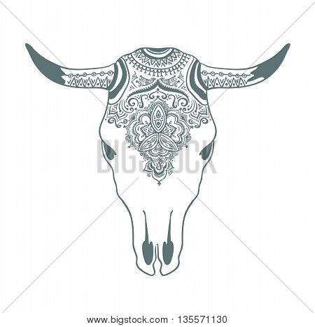 Hand drawn cow skull with ornament. Bohemian design. Vector illustration.