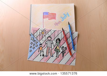 Child's drawings of American flag on paper
