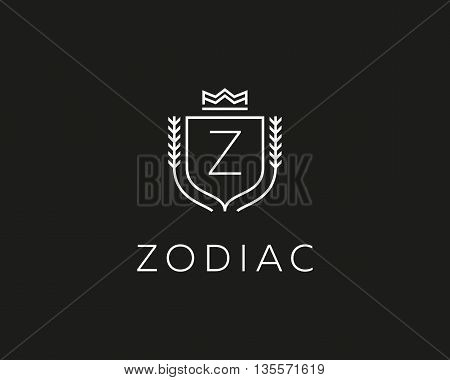 Premium monogram letter Z initials ornate signature logotype. Elegant crest logo icon vector design. Luxury shield crown sign
