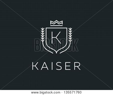 Premium monogram letter K initials ornate signature logotype. Elegant crest logo icon vector design. Luxury shield crown sign
