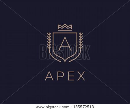 Premium monogram letter A initials ornate signature logotype. Elegant crest logo icon vector design. Luxury shield crown sign