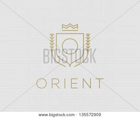 Premium monogram letter O initials ornate signature logotype. Elegant crest logo icon vector design. Luxury shield crown sign