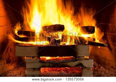 wood fire in a hand made brick oven