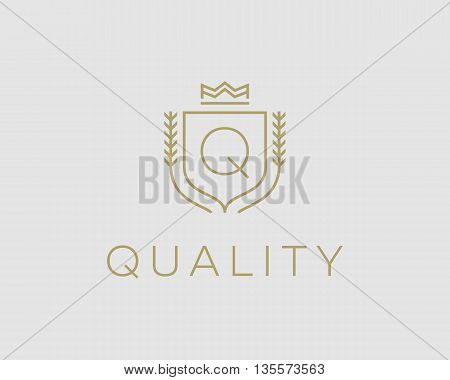 Premium monogram letter Q initials ornate signature logotype. Elegant crest logo icon vector design. Luxury shield crown sign