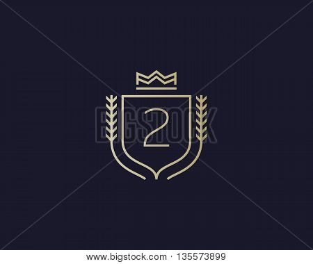 Premium number 2 ornate logotype. Elegant numeral crest logo icon vector design. Luxury figure shield crown sign. Concept for print or t-shirt design.