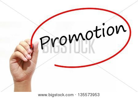 Man Hand writing Promotion with marker on transparent wipe board. Business internet technology concept.