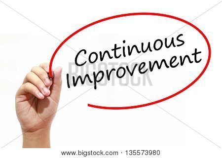 Man Hand writing Continuous Improvement with marker on transparent wipe board. Business internet technology concept.