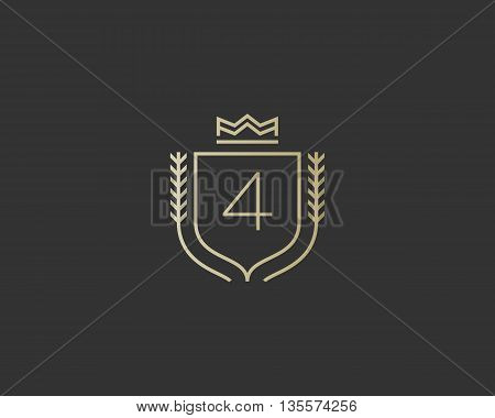 Premium number 4 ornate logotype. Elegant numeral crest logo icon vector design. Luxury figure shield crown sign. Concept for print or t-shirt design.